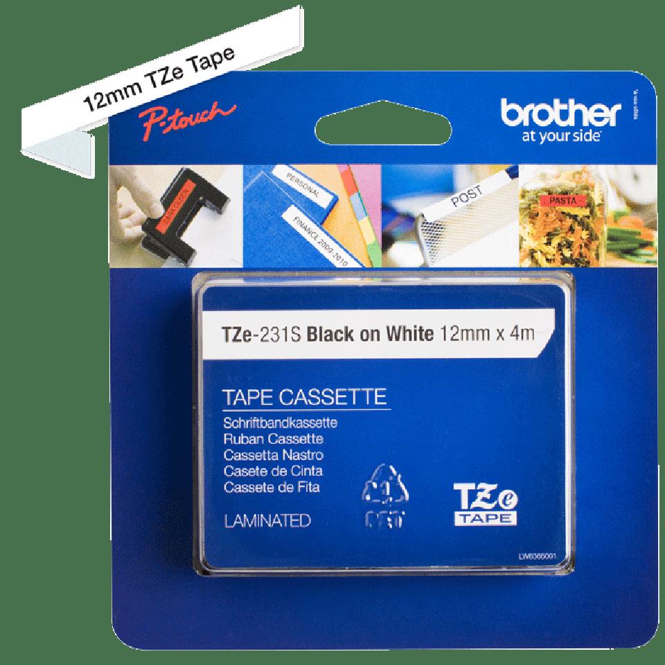 Cassetta nastro per etichettatura originale Brother TZe-231S – Nero su bianco, 12 mm di larghezza 4