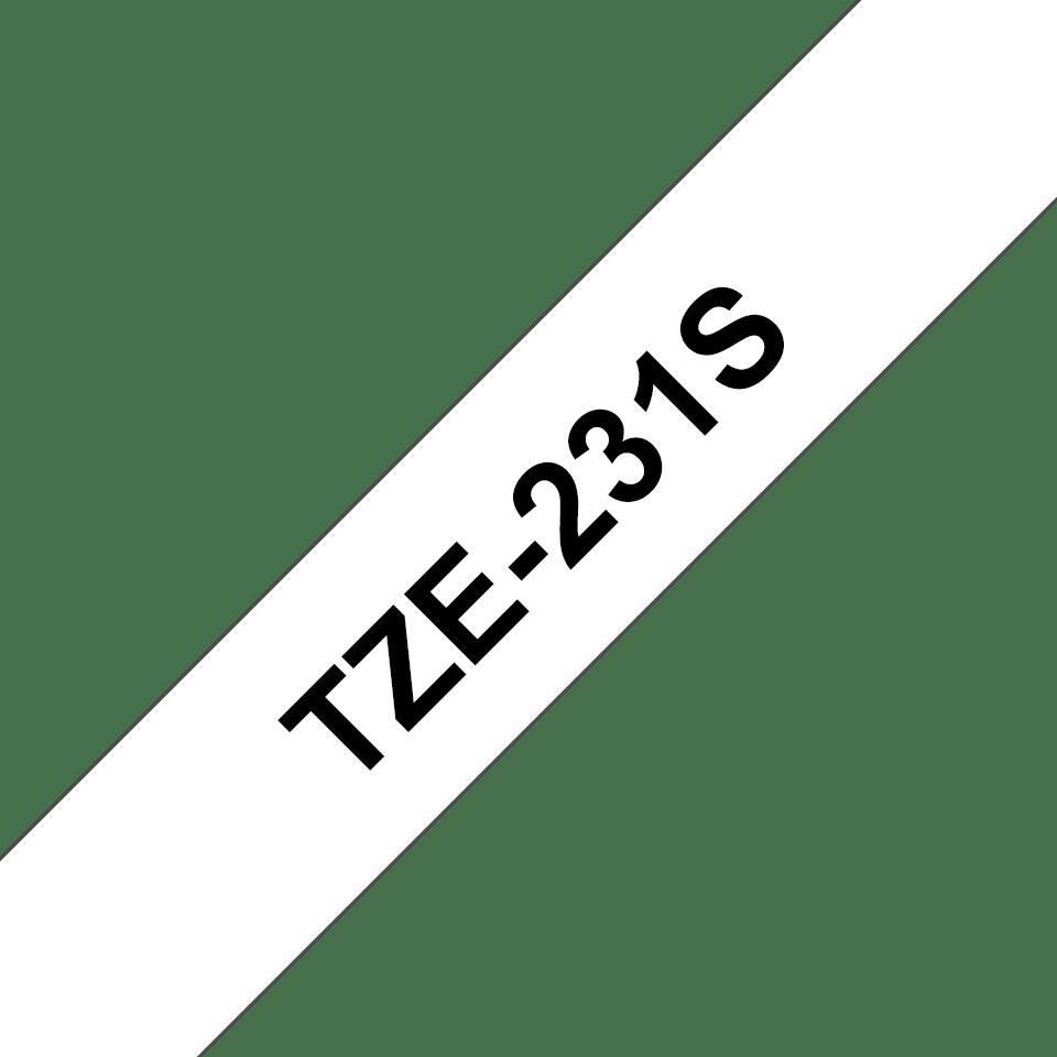 Cassetta nastro per etichettatura originale Brother TZe-231S – Nero su bianco, 12 mm di larghezza
