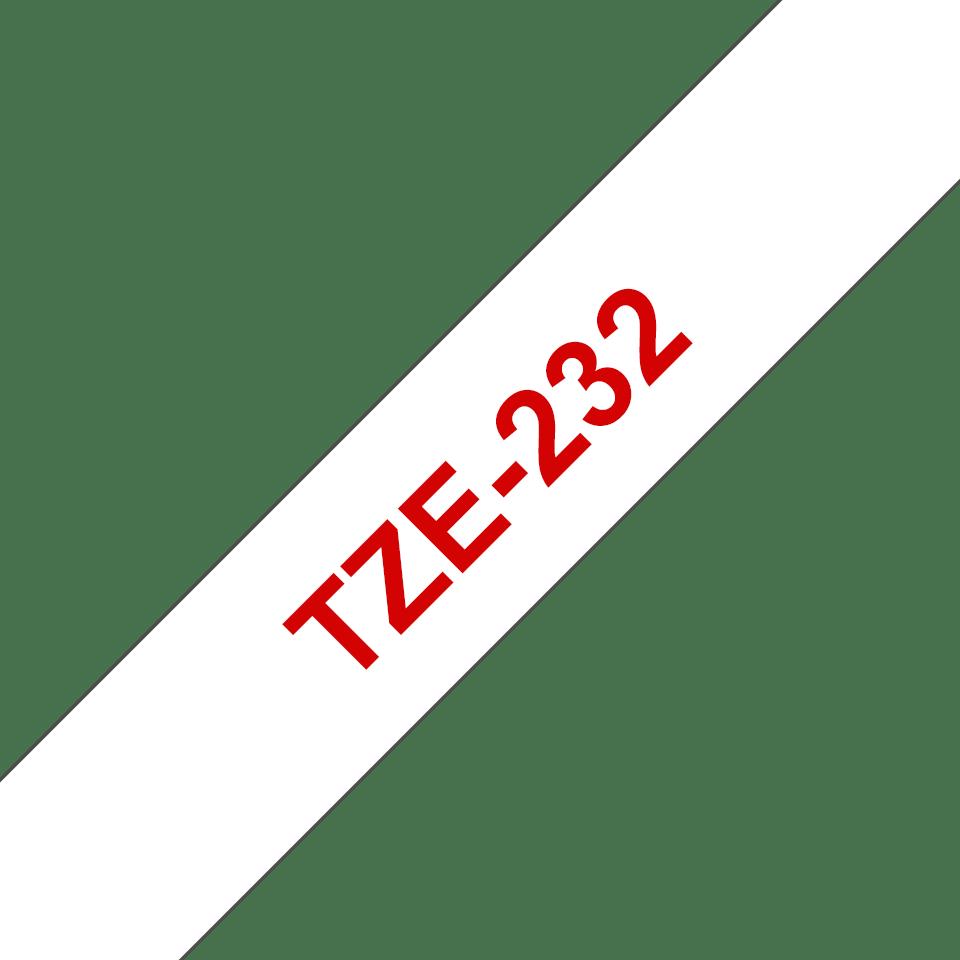 Cassetta nastro per etichettatura originale Brother TZe-232 – Rosso su bianco, 12 mm di larghezza 3