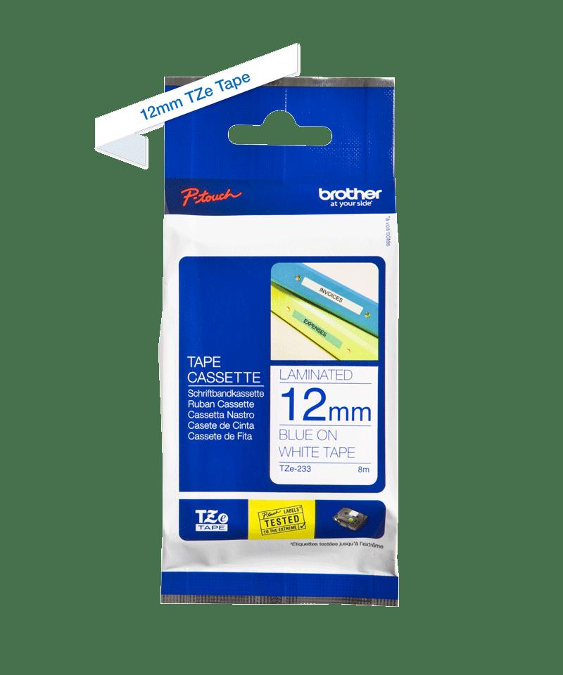 Cassetta nastro per etichettatura originale Brother TZe-233 – Blu su bianco, 12 mm di larghezza 2