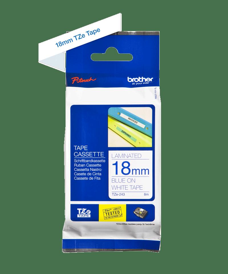 Cassetta nastro per etichettatura originale Brother TZe-243 – Blu su bianco, 18 mm di larghezza 2