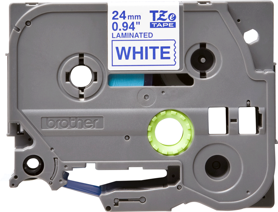 Cassetta nastro per etichettatura originale Brother TZe-253 – Blu su bianco, 24 mm di larghezza 0