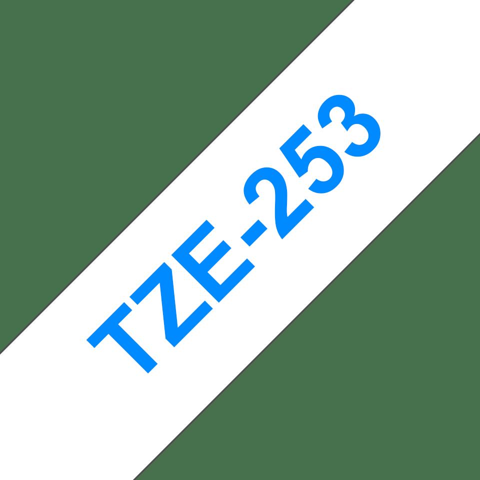 Cassetta nastro per etichettatura originale Brother TZe-253 – Blu su bianco, 24 mm di larghezza 3