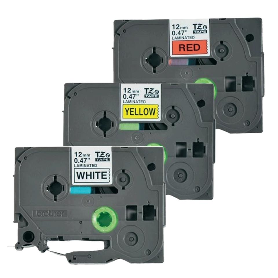 Cassetta nastro per etichettatura originale Brother TZe-31M3 – Nero su rosso, nero su bianco, nero su giallo, 12 mm di larghezza 2