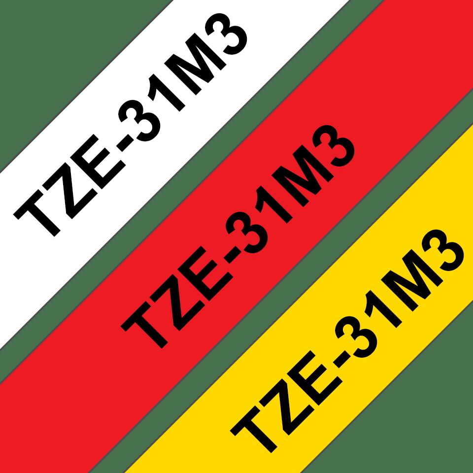 Cassetta nastro per etichettatura originale Brother TZe-31M3 – Nero su rosso, nero su bianco, nero su giallo, 12 mm di larghezza 3