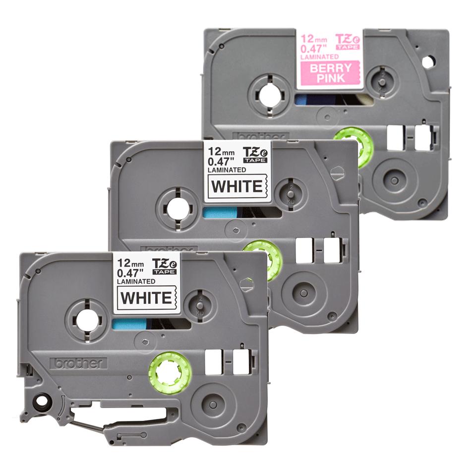 Cassetta nastro per etichettatura originale Brother TZe-32M3 – Nero su bianco, bianco su rosa bacca fluorescente opaco, 12 mm di larghezza 1
