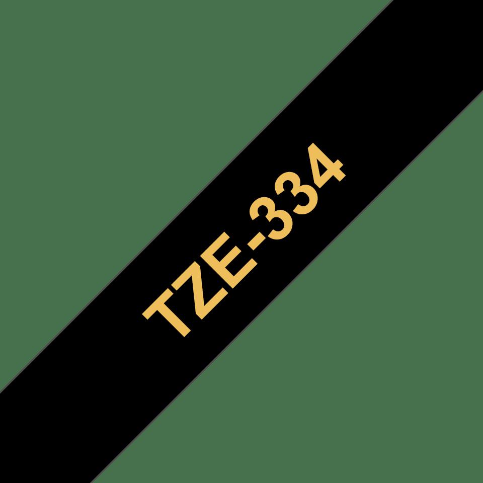Cassetta nastro per etichettatura originale Brother TZe-334 – Oro su nero, 12 mm di larghezza 2