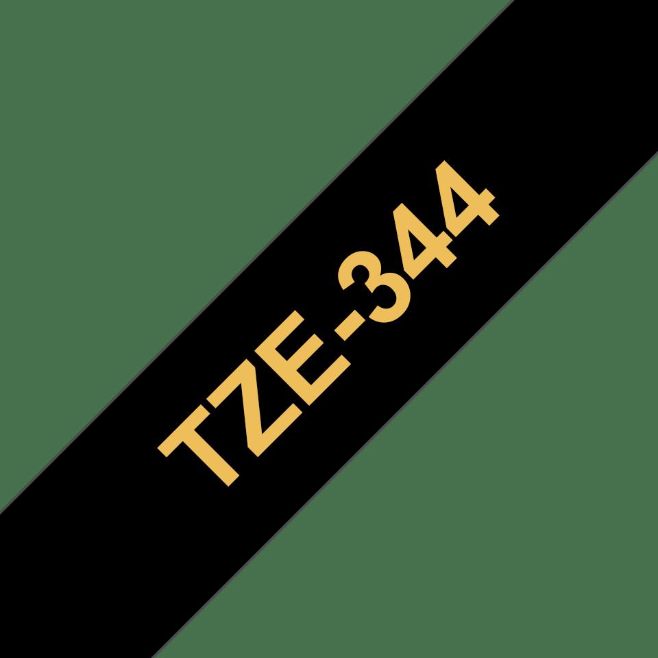 Cassetta nastro per etichettatura originale Brother TZe-344 – Oro su nero, 18 mm di larghezza 3