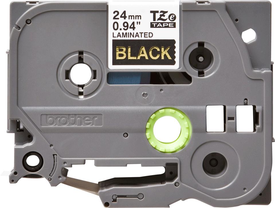 Cassetta nastro per etichettatura originale Brother TZe-354 – Oro su nero, 24 mm di larghezza 0