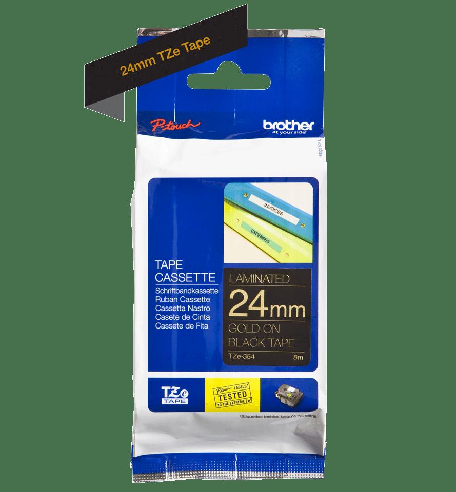 Cassetta nastro per etichettatura originale Brother TZe-354 – Oro su nero, 24 mm di larghezza 2