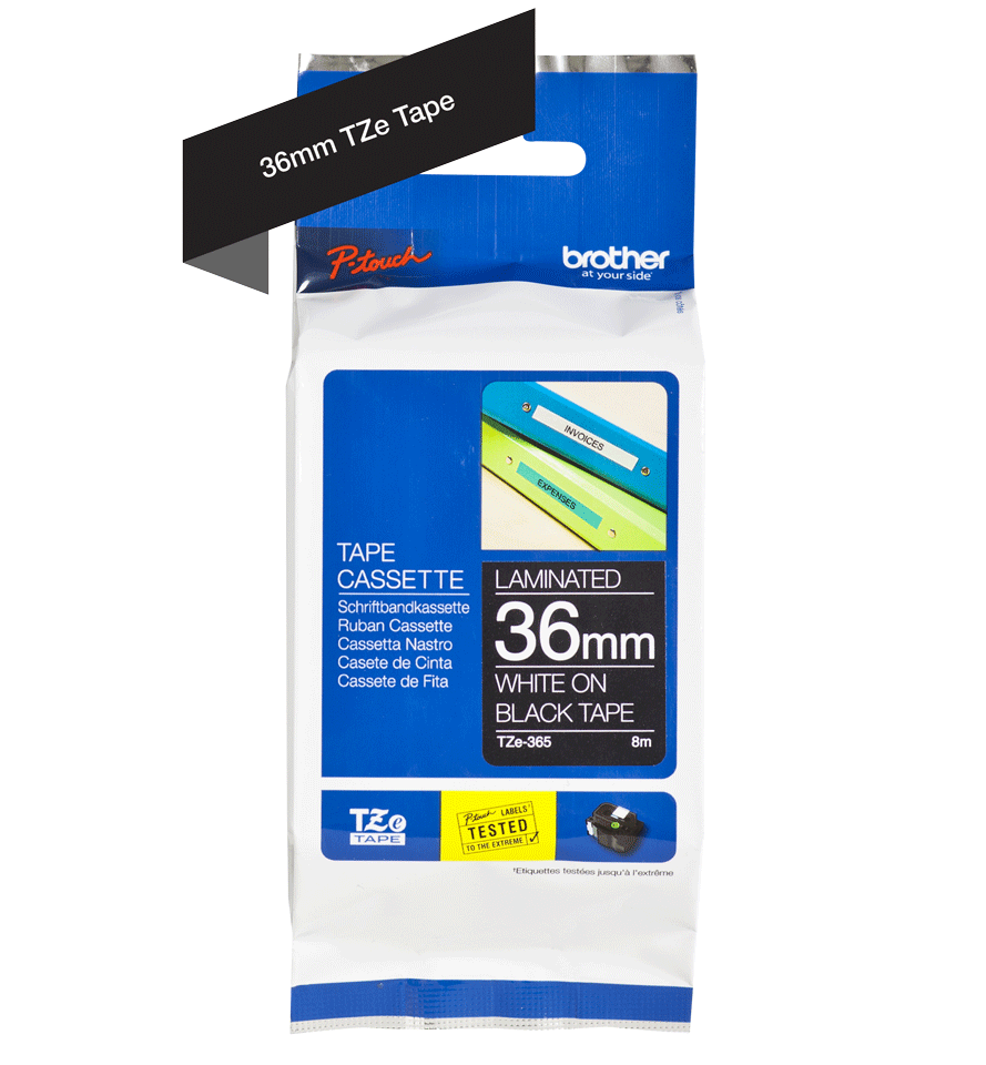 Cassetta nastro per etichettatura originale Brother TZe-365 – Bianco su nero, 36 mm di larghezza 2