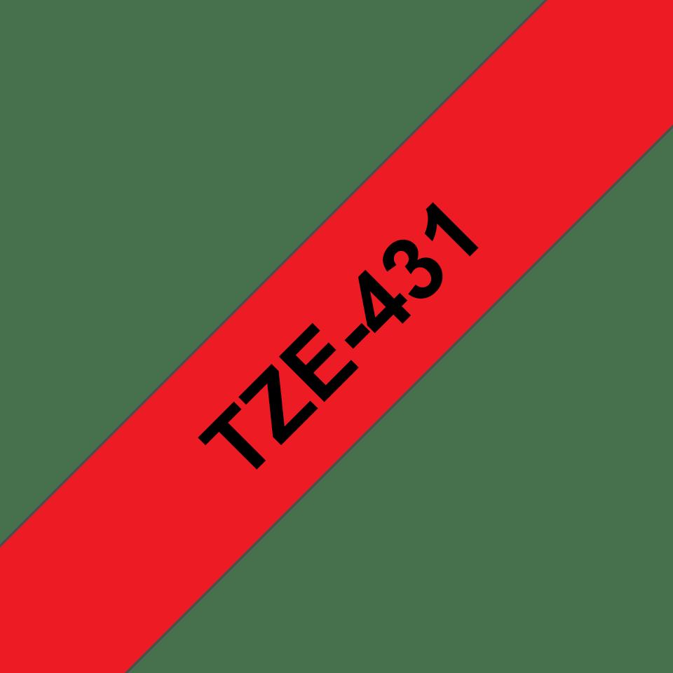 Cassetta nastro per etichettatura originale Brother TZe-431 – Nero su rosso, 12 mm di larghezza 3
