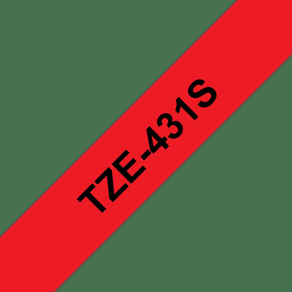 Cassetta nastro per etichettatura originale Brother TZe-431S – Nero su rosso, 12 mm di larghezza 3