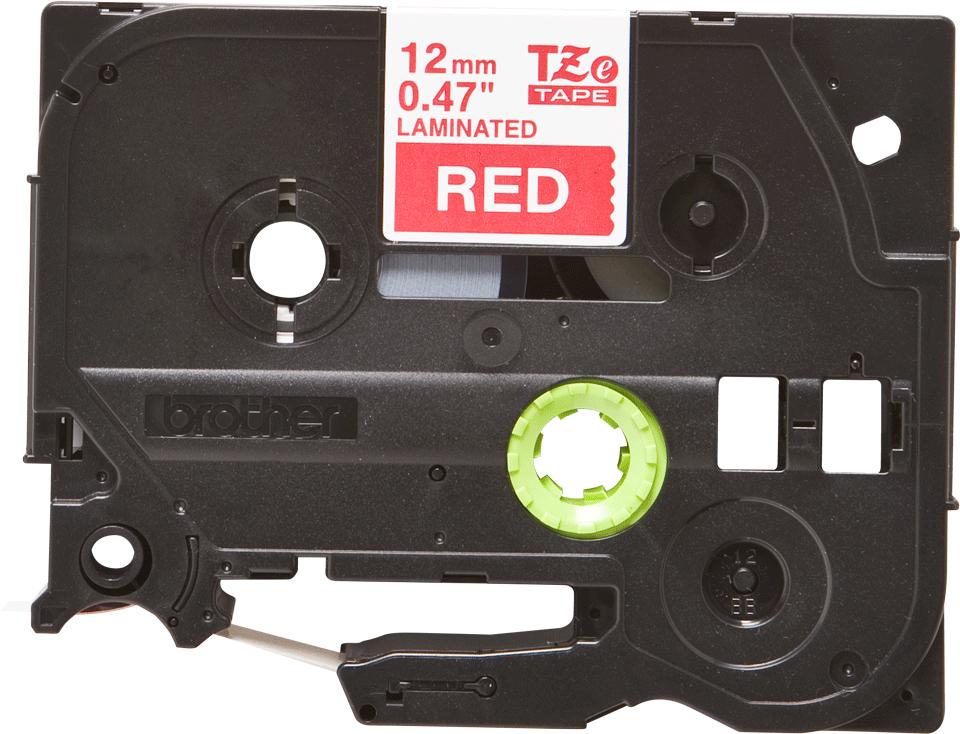 Cassetta nastro per etichettatura originale Brother TZe-435 – Bianco su rosso, 12 mm di larghezza