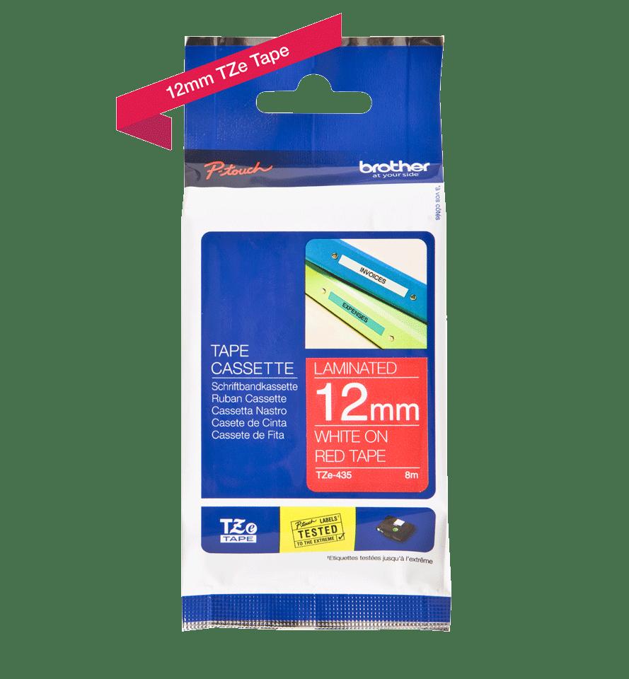 Cassetta nastro per etichettatura originale Brother TZe-435 – Bianco su rosso, 12 mm di larghezza 2