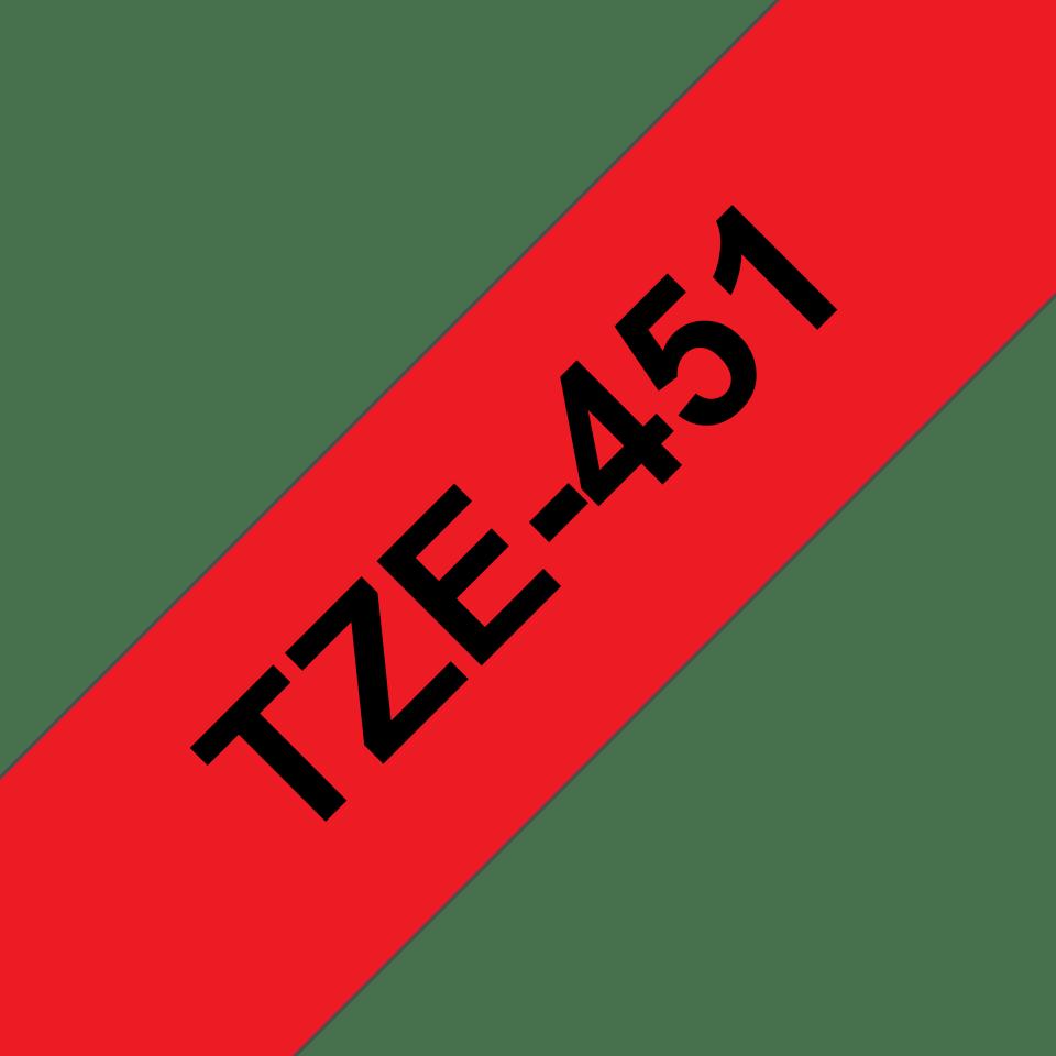 Cassetta nastro per etichettatura originale Brother TZe-451 – Nero su rosso, 24 mm di larghezza 2