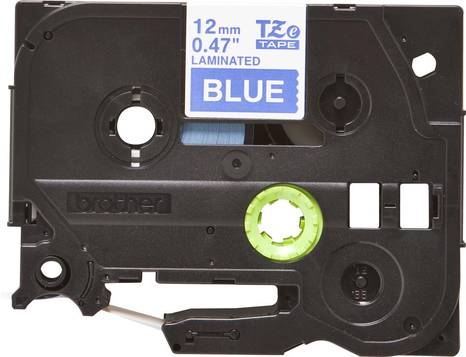 Cassetta nastro per etichettatura originale Brother TZe-535 – Bianco su blu, 12 mm di larghezza 0