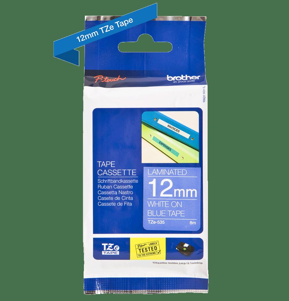 Cassetta nastro per etichettatura originale Brother TZe-535 – Bianco su blu, 12 mm di larghezza 1
