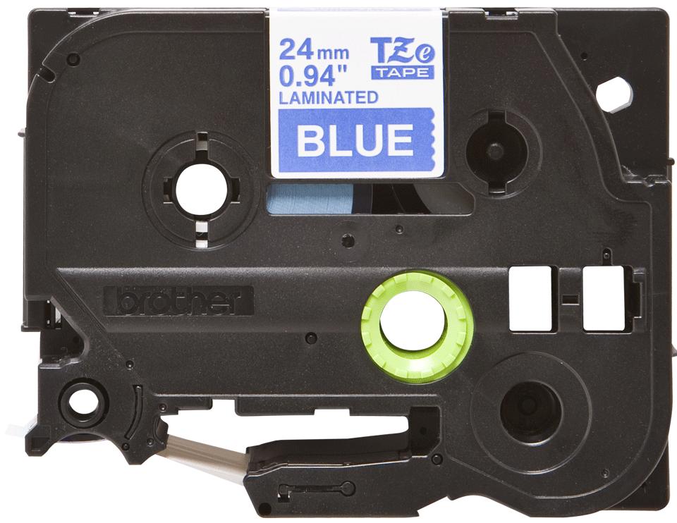 Cassetta nastro per etichettatura originale Brother TZe-555 – Bianco su blu, 24 mm di larghezza