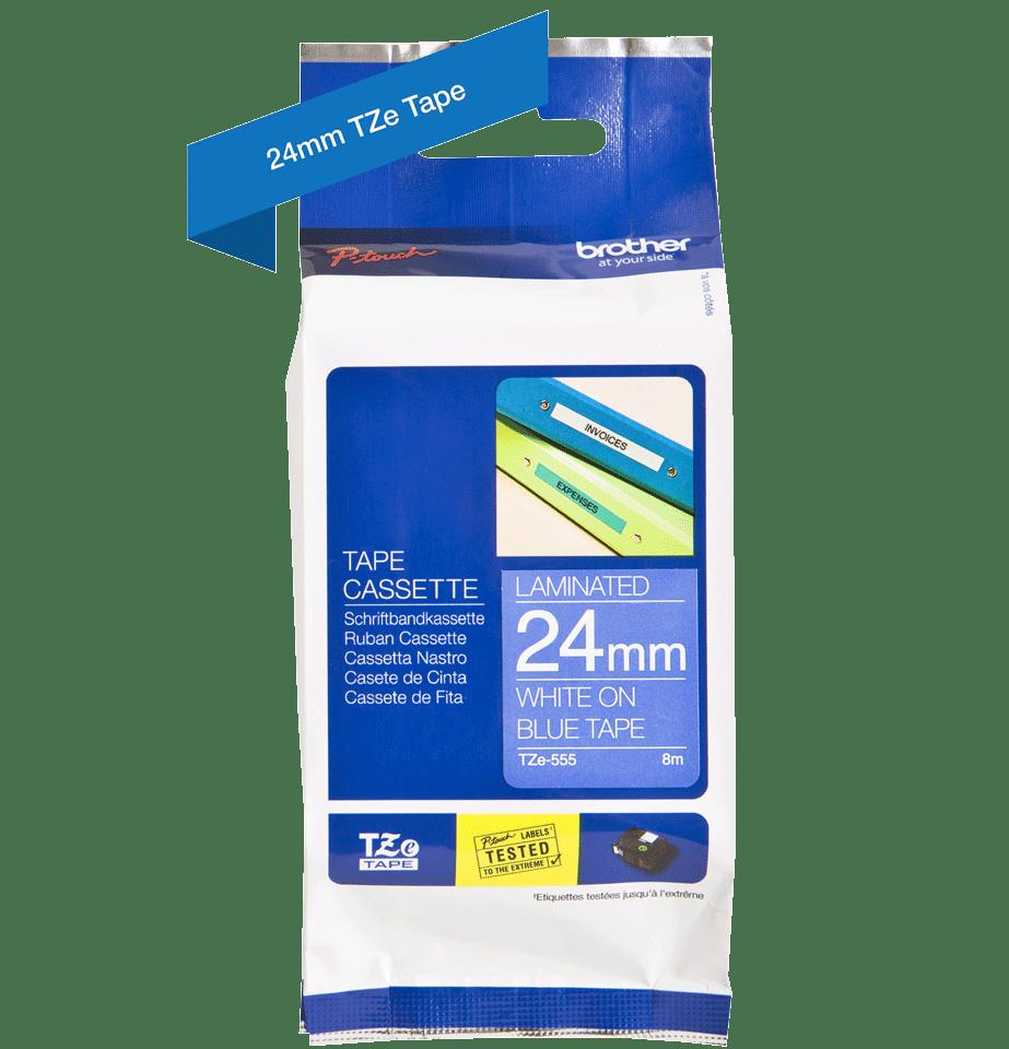 Cassetta nastro per etichettatura originale Brother TZe-555 – Bianco su blu, 24 mm di larghezza 2