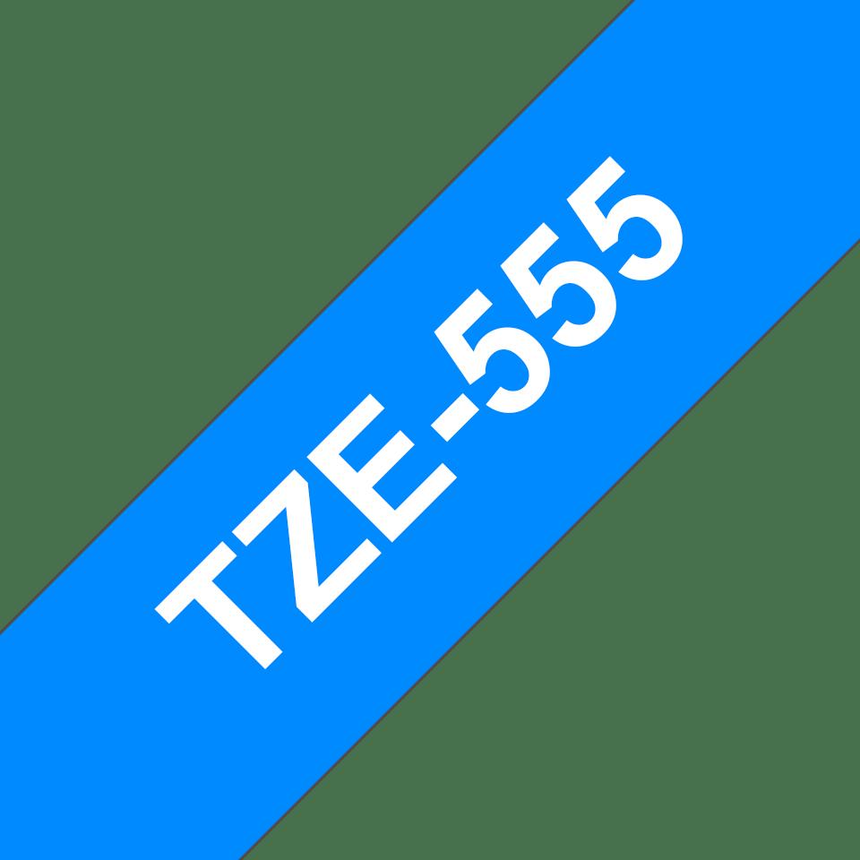 Cassetta nastro per etichettatura originale Brother TZe-555 – Bianco su blu, 24 mm di larghezza 3