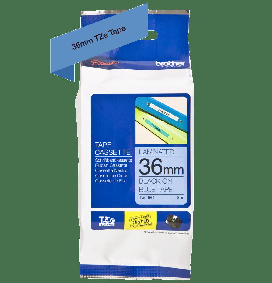 Cassetta nastro per etichettatura originale Brother TZe-561 – Nero su blu, 36 mm di larghezza 1