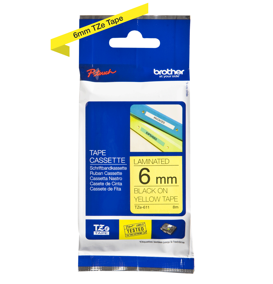 Cassetta nastro per etichettatura originale Brother TZe-611 – Nero su giallo, 6 mm di larghezza 2