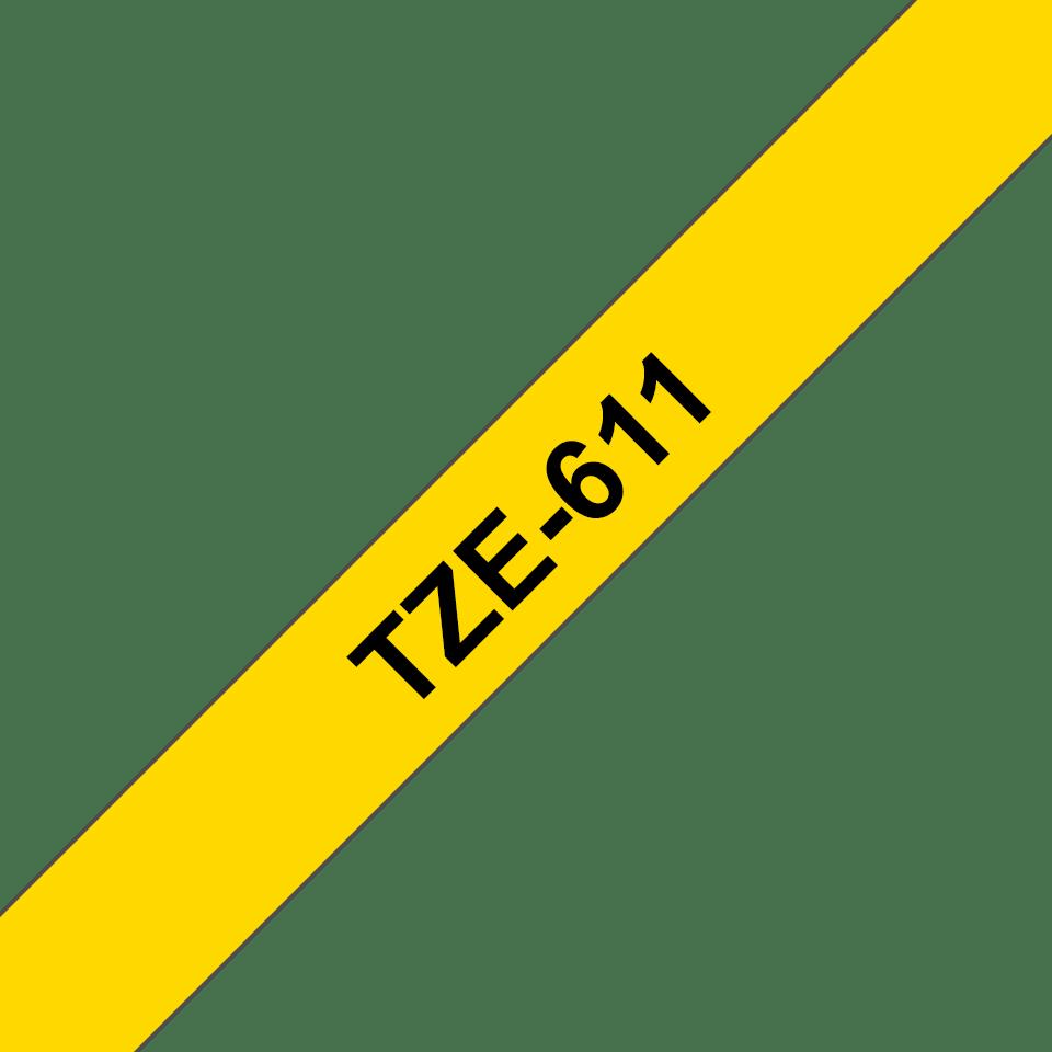 Cassetta nastro per etichettatura originale Brother TZe-611 – Nero su giallo, 6 mm di larghezza 3