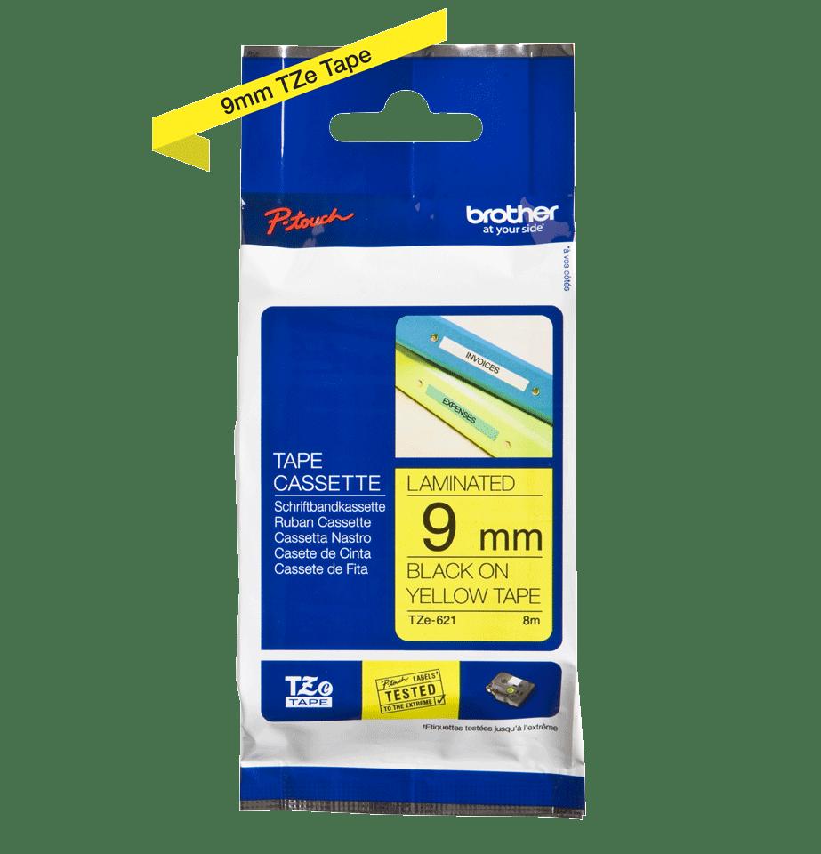 Cassetta nastro per etichettatura originale Brother TZe-621 – Nero su giallo, 9 mm di larghezza 2