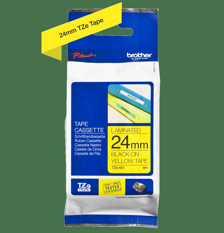 Cassetta nastro per etichettatura originale Brother TZe-651 – Nero su giallo, 24 mm di larghezza 1
