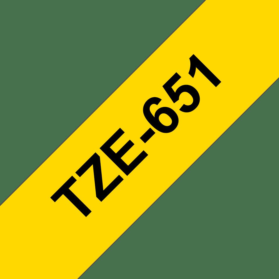 Cassetta nastro per etichettatura originale Brother TZe-651 – Nero su giallo, 24 mm di larghezza 3