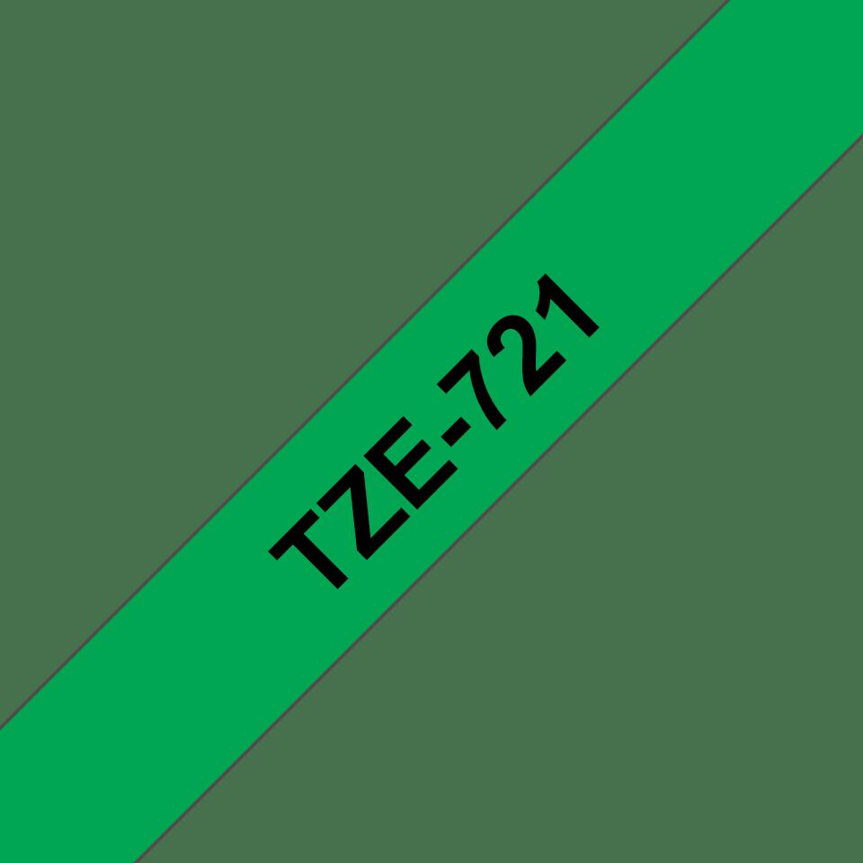 Cassetta nastro per etichettatura originale Brother TZe-721 – Nero su verde, 9 mm di larghezza 2