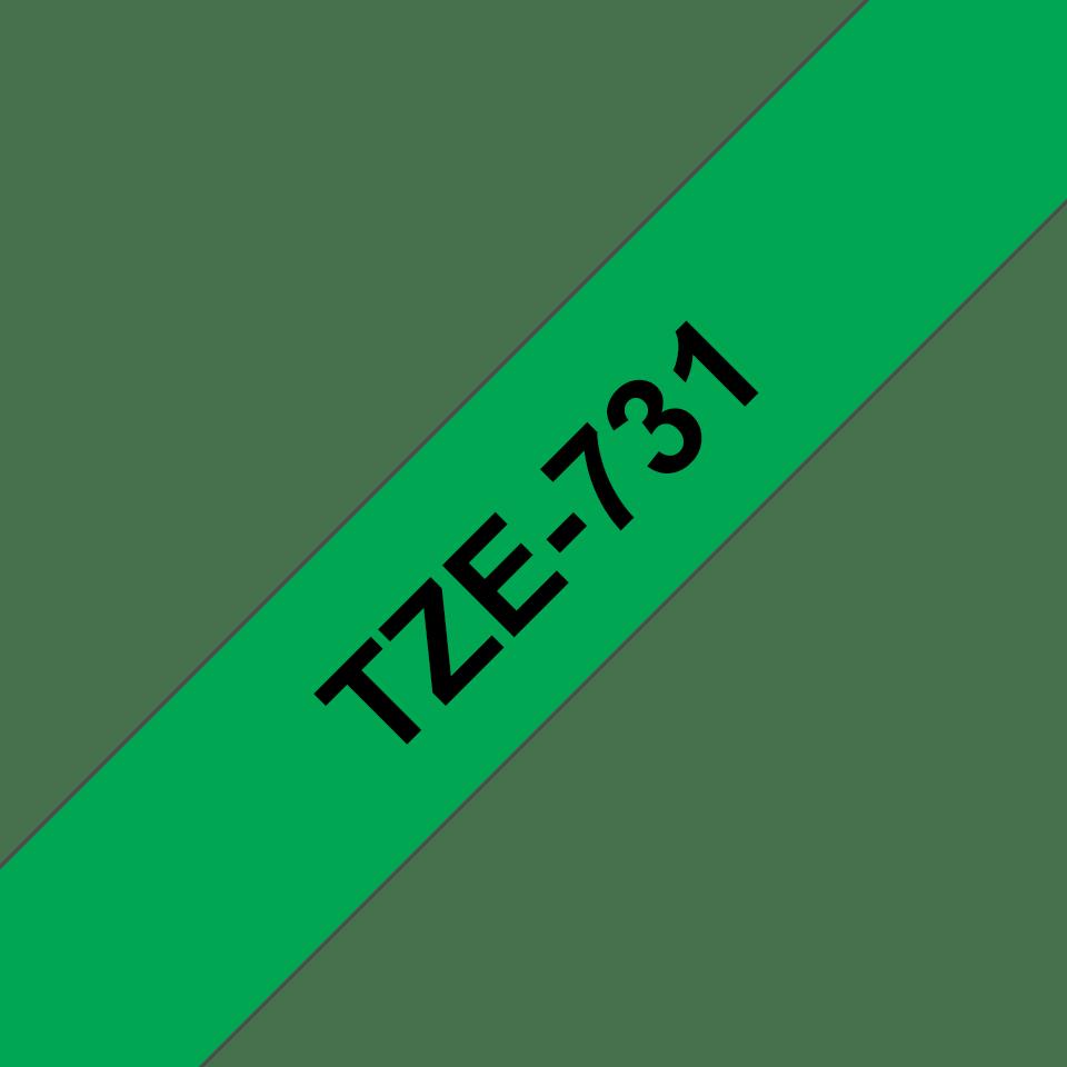 Cassetta nastro per etichettatura originale Brother TZe-731 – Nero su verde, 12 mm di larghezza 3