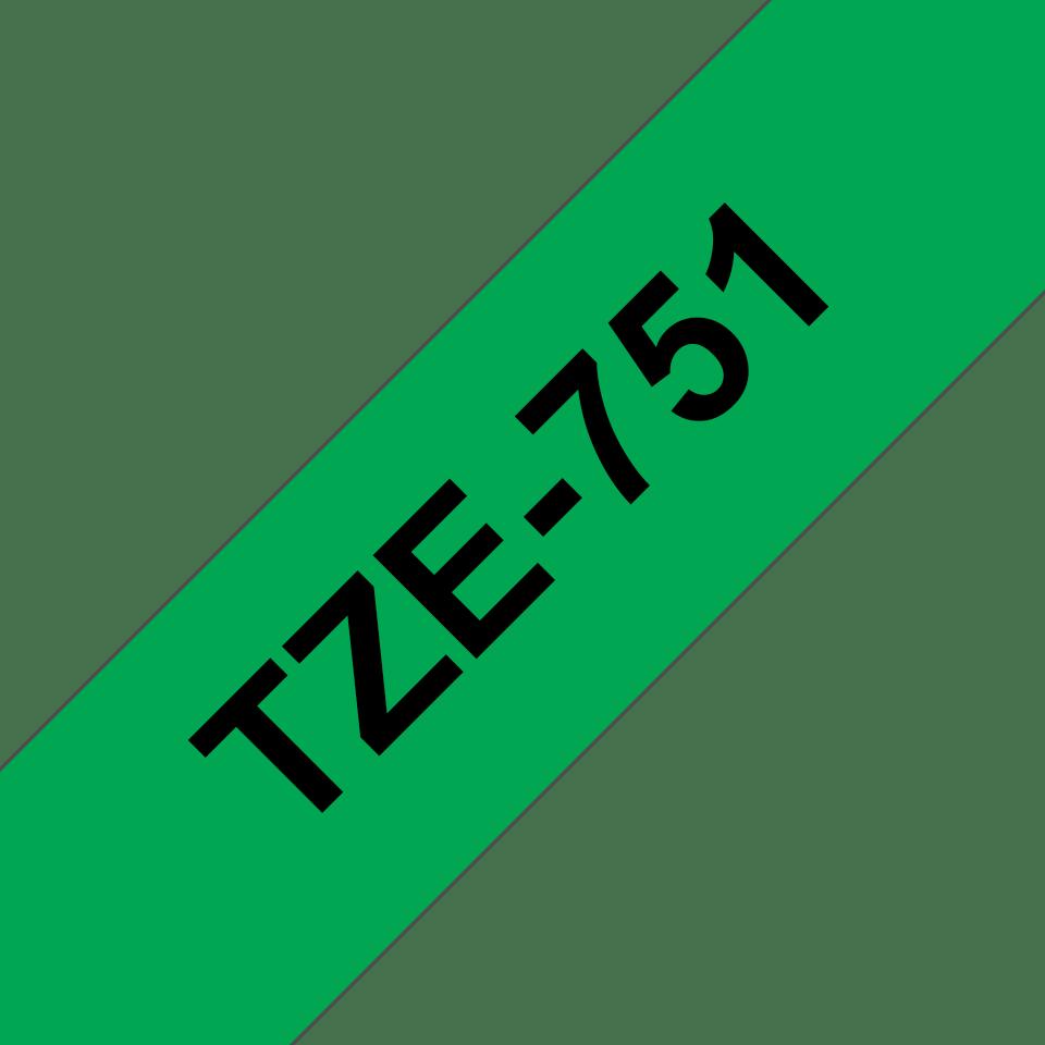 Cassetta nastro per etichettatura originale Brother TZe-751 – Nero su verde, 24 mm di larghezza 3