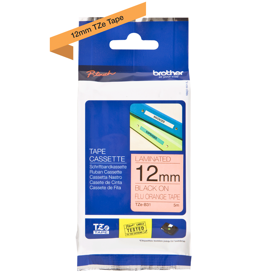 Brother TZe-B31 Nastro laminato da 12 mm – arancione fluorescente 2