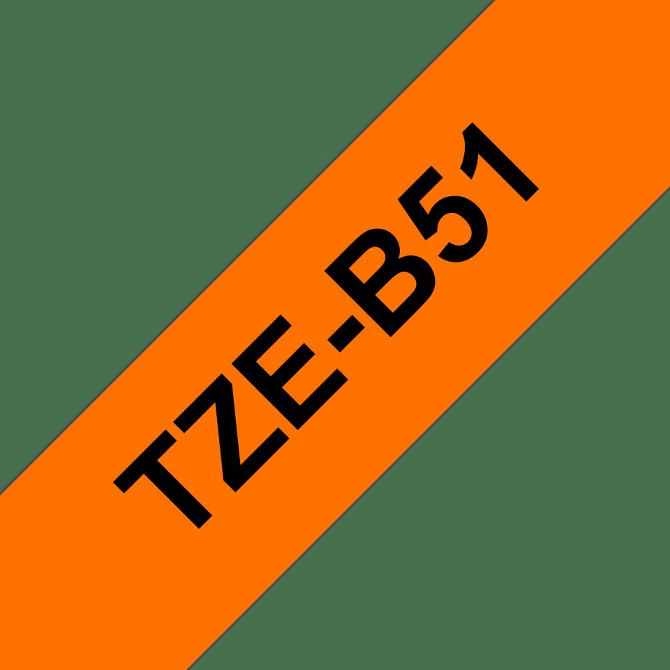 Cassetta nastro per etichettatura originale Brother TZe-B51 – Nero su arancione fluorescente, 24 mm di larghezza 3