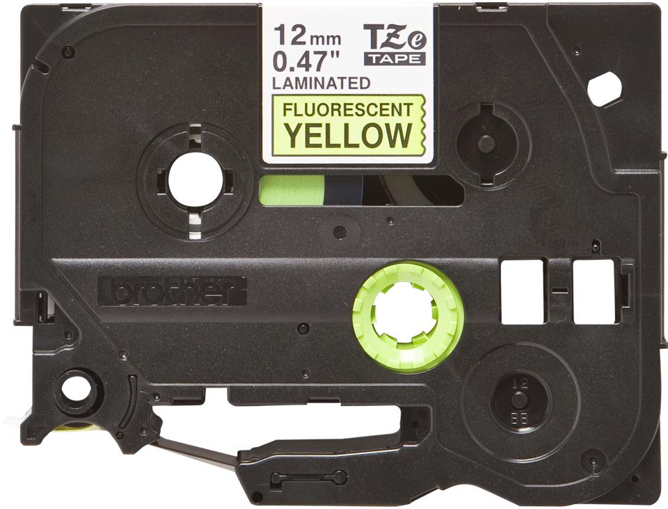 Cassetta nastro per etichettatura originale Brother TZe-C31 – Nero su giallo fluorescente, 12 mm di larghezza
