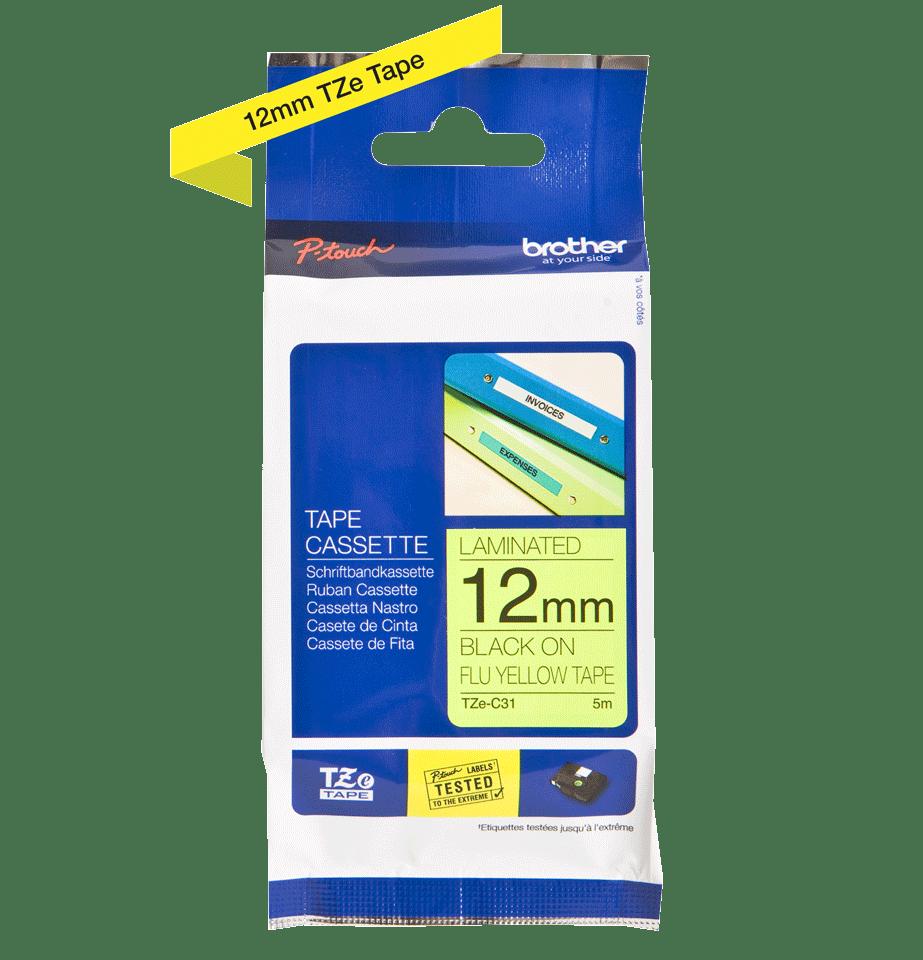 Cassetta nastro per etichettatura originale Brother TZe-C31 – Nero su giallo fluorescente, 12 mm di larghezza 2