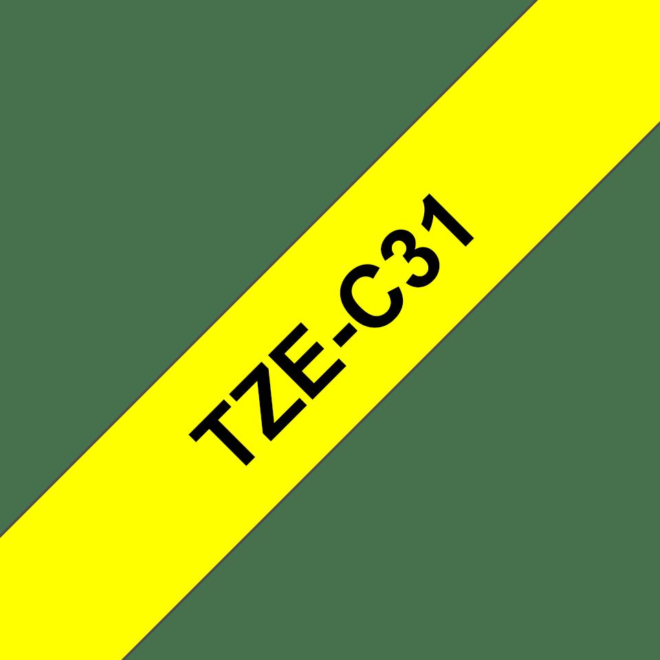 Cassetta nastro per etichettatura originale Brother TZe-C31 – Nero su giallo fluorescente, 12 mm di larghezza 3