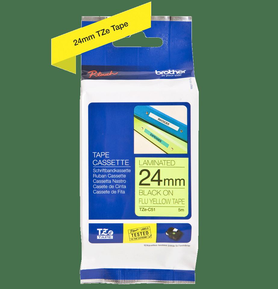 Cassetta nastro per etichettatura originale Brother TZe-C51 – Nero su giallo fluorescente, 24 mm di larghezza 2