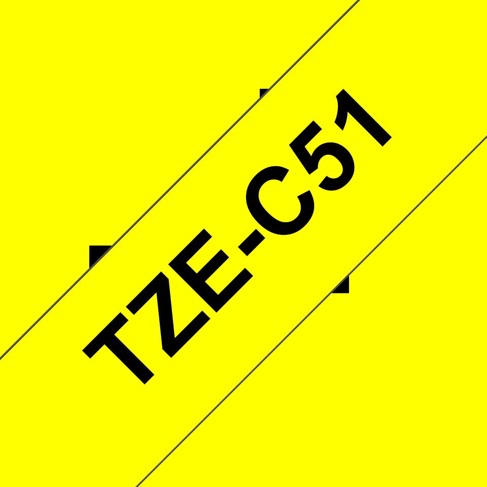 Cassetta nastro per etichettatura originale Brother TZe-C51 – Nero su giallo fluorescente, 24 mm di larghezza 3