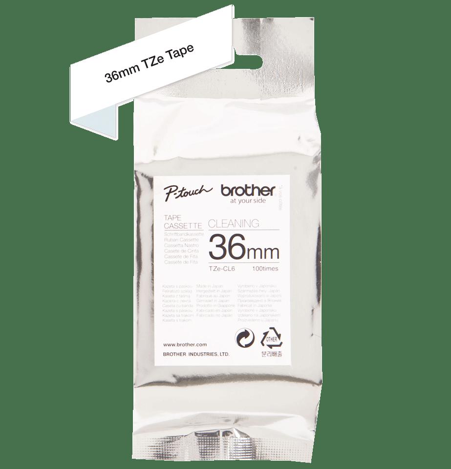 Cassetta nastro di pulizia della testina di stampa Brother TZe-CL6 – 36 mm di larghezza 2