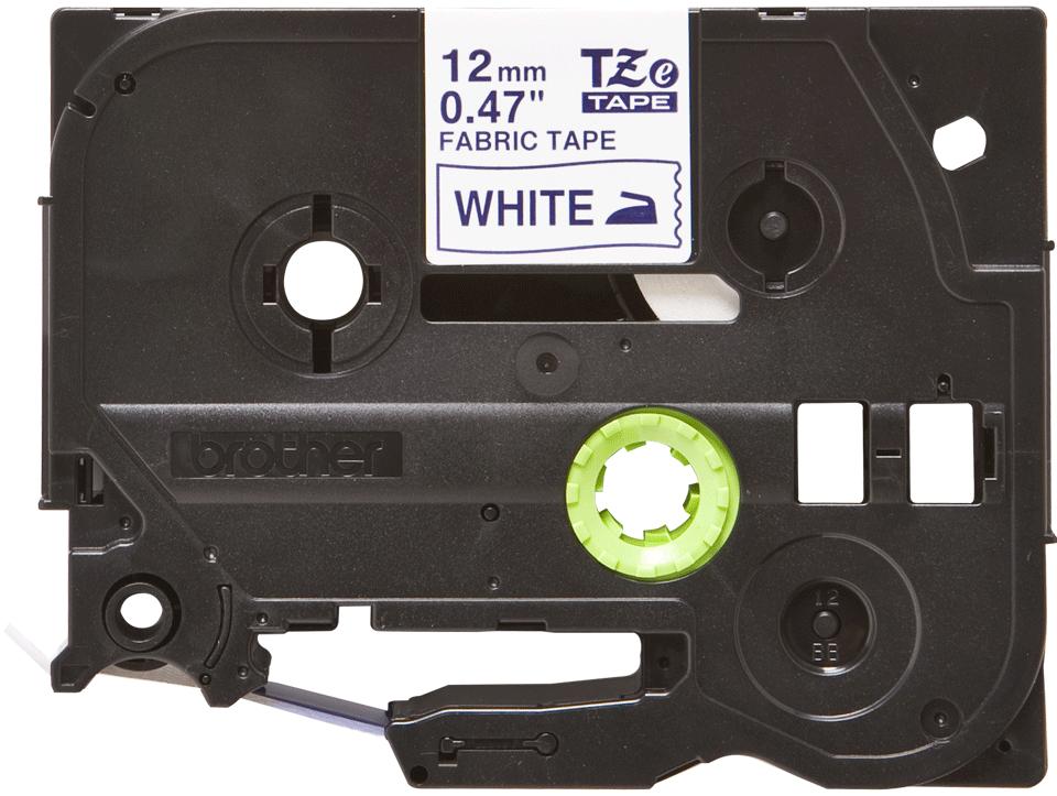 Brother TZe-FA3 Nastro originale in tessuto stirabile -Blu su bianco, 12 mm di larghezza
