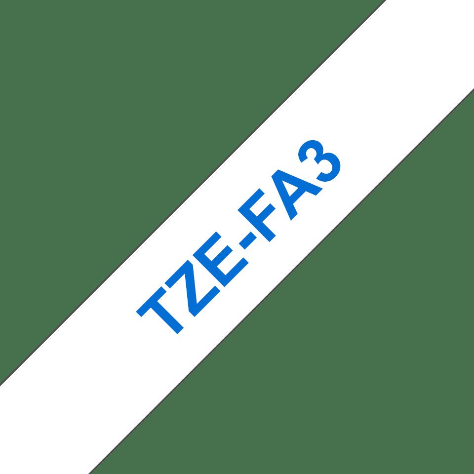 Cassetta nastro di stoffa originale Brother TZe-FA3 – Blu su bianco, 12 mm di larghezza 3