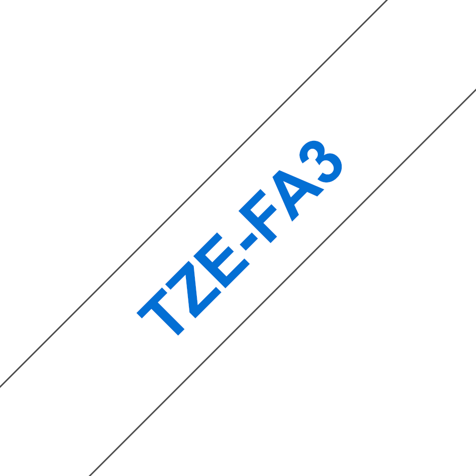Brother TZe-FA3 Nastro originale in tessuto stirabile -Blu su bianco, 12 mm di larghezza 3