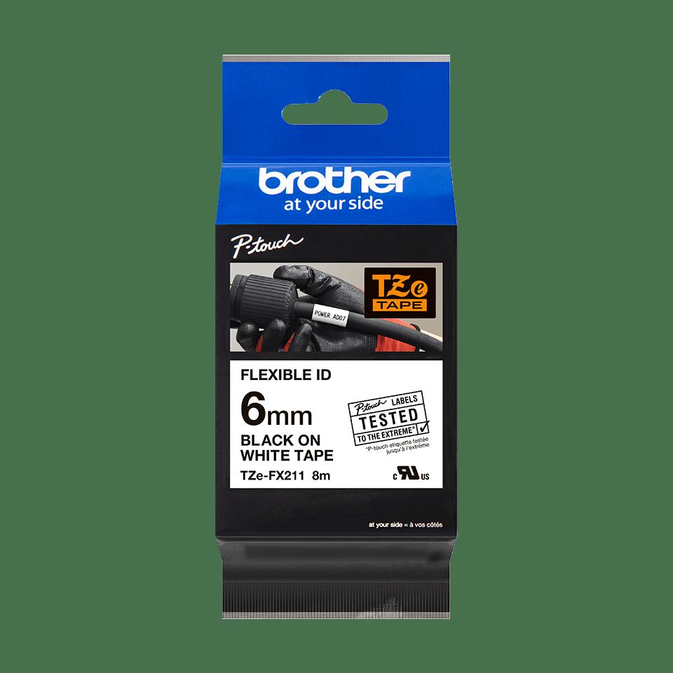 Cassetta nastro per etichettatura originale Brother TZe-FX211 – Nero su bianco, 6 mm di larghezza 2