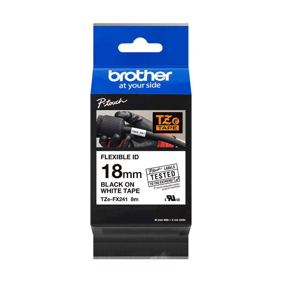 Cassetta nastro per etichettatura originale Brother TZe-FX241 – Nero su bianco, 18 mm di larghezza 1