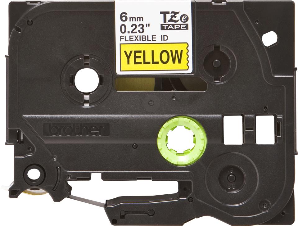 Cassetta nastro per etichettatura originale Brother TZe-FX611 – Nero su giallo, 6 mm di larghezza 0