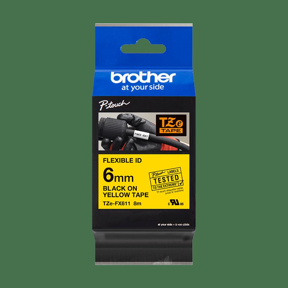 Cassetta nastro per etichettatura originale Brother TZe-FX611 – Nero su giallo, 6 mm di larghezza 1