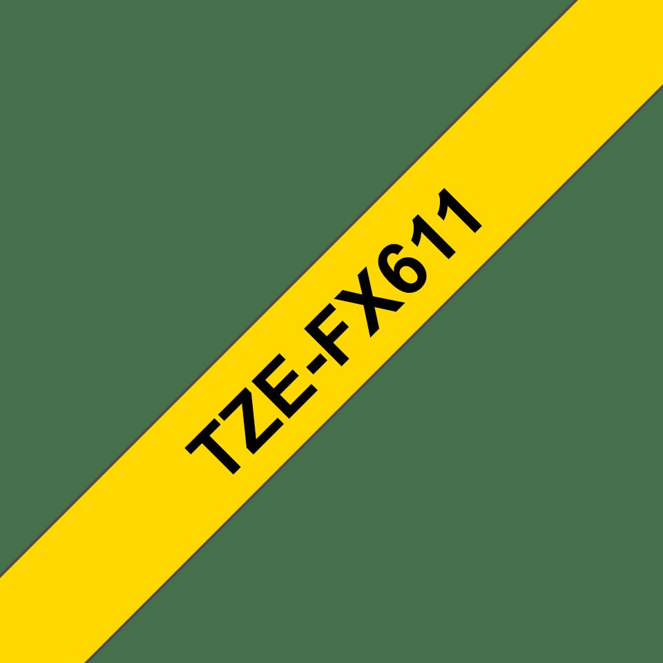 Cassetta nastro per etichettatura originale Brother TZe-FX611 – Nero su giallo, 6 mm di larghezza 3